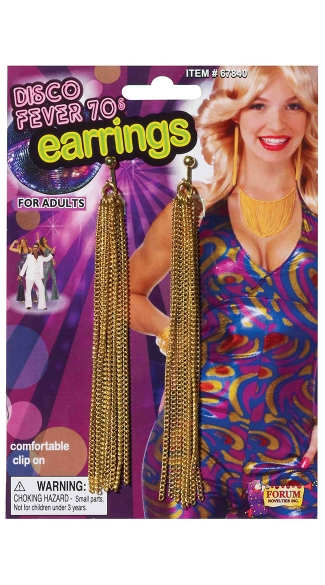 Gold Chain Disco Earrings, 70\'s Tassel Earrings, Long Disco Earrings