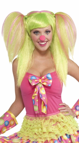Sweet Lollipop Clown Wig, Pigtail Wig, Blonde Ponytail Wig