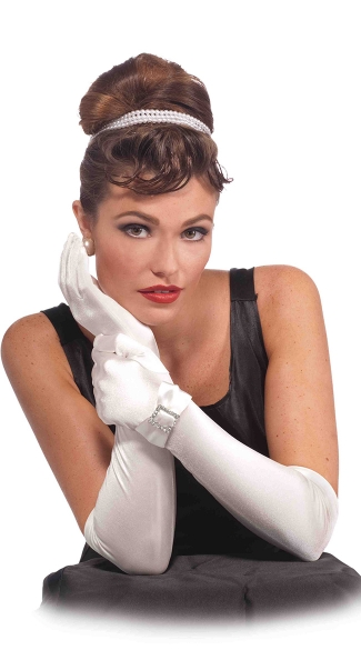 White Satin Gloves with Rhinestone Buckle, Long White Gloves