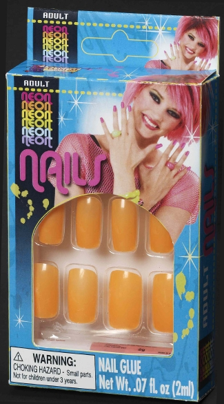 Neon Orange Finger Nails, Neon Finger Nails, Finger Nail Glue, 80s Costume Accessories