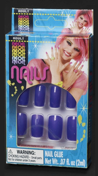 Neon Purple Finger Nails, Neon Finger Nails, Finger Nail Glue, 80s Costume Accessories