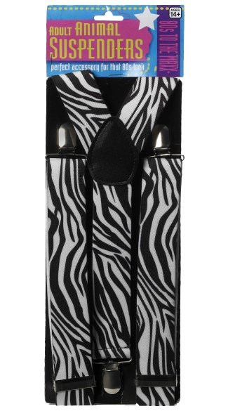 Black And White Zebra Print Suspenders