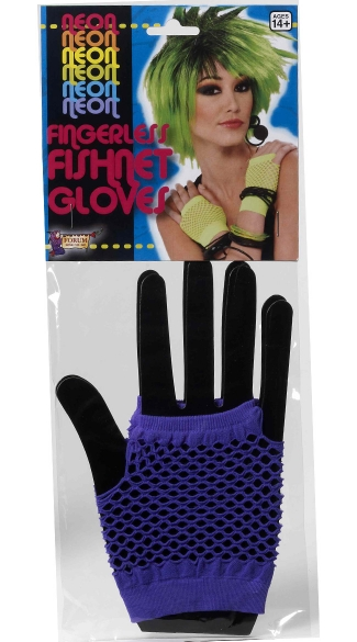 Hot Purple Fishnet Fingerless Gloves