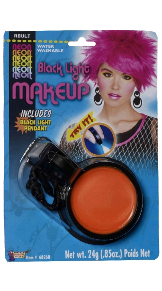 Black Light Neon Orange Make Up Pot, Neon Orange Black Light Make Up, Neon Costume Accessory, Black Light Activated Orange Make Up