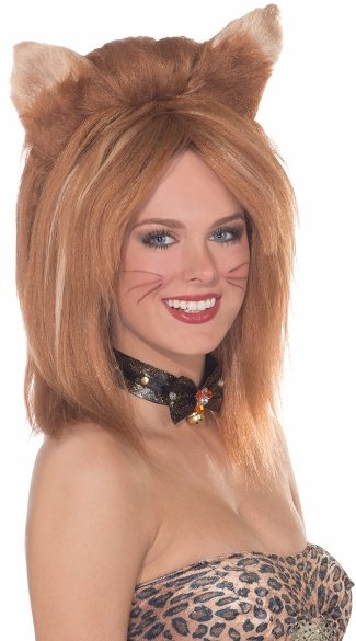 Ginger Fierce Feline Fantasy, Cat Ear Wig, Ginger Wig