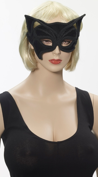 Black Cat Eye Mask, Black Cat Half Mask On Glasses, Cat Halloween Mask