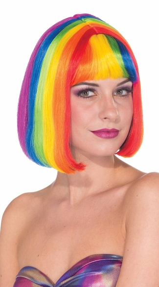 Rainbow Striped Chic Wig, Sexy Wigs, Colored Wigs, Rainbow Wigs
