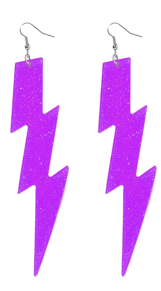 Neon Purple Lightning Bolt Earrings, Neon Lightning Bolt Earrings, Neon Earrings, 80s Earrings