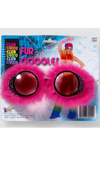 Pink Furry Rave Goggles