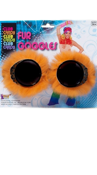 Neon Orange Fur Goggles, Fur Trimmed Goggles, Club Goggles, Rave Goggles