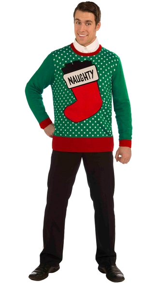 Naughty Ugly Christmas Sweater, Christmas Sweater with Naughty Print
