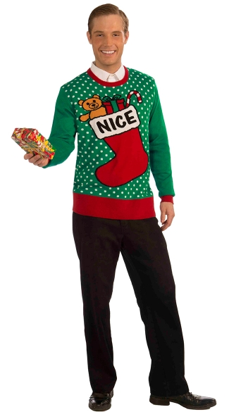 Nice Ugly Christmas Sweater, Nice Stocking Sweater