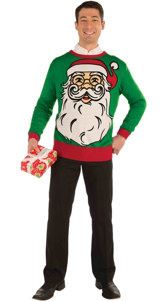 Santa Print Christmas Sweater, Santa Claus Sweater