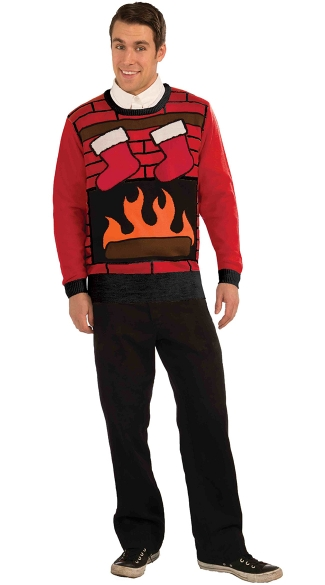 Plus Size Fireplace Ugly Christmas Sweater