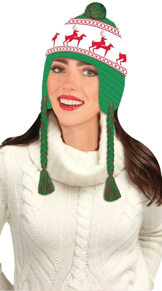 Christmas Beanie with Tassels , Reindeer Games Hat