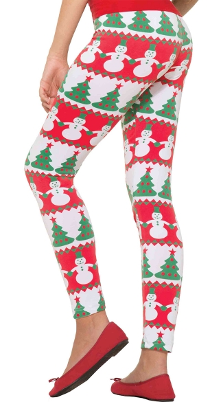 Christmas Leggings, Christmas Tree Leggings, Red and Green Leggings