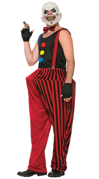Men\'s Twisted Clown Costume, Evil Clown Costume, Evil Clown Mask