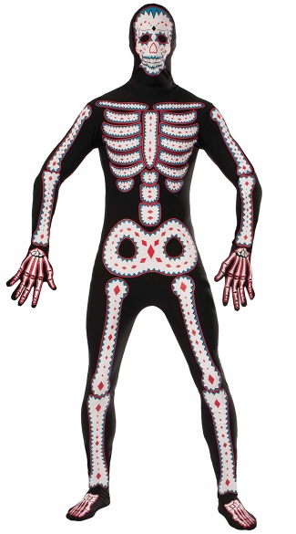 Second Skin Day Of The Dead Costume, Day of the Dead Costume, Full Body Suit Day of the Dead Halloween Costume