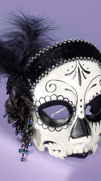 La Muerta Skull Face Mask, Day of the Dead Mask, Skeleton Face Mask