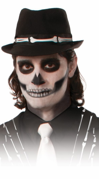 Bony Fedora Hat, Adult Skeleton Costume, Day of the Dead Costumes