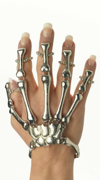 Skeleton Bracelet with Finger Grips, Fashion Jewelry Accessories, Skeleton Halloween Costume