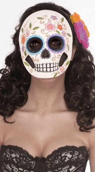 In Full Bloom Day of the Dead Face Mask, Day of the Dead Costume, Day of the Dead Woman Costume
