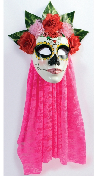 Senora Day of the Dead Mask, Women\'s Day of the Dead Mask, Pink Day of the Dead Mask