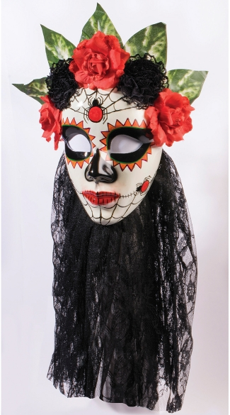 Senora Day of the Dead Mask, Women\'s Day of the Dead Mask, Black Day of the Dead Mask