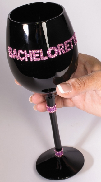 Black Bachelorette Wine Glass, Black Wine Glass, Black and Pink Wine Glass