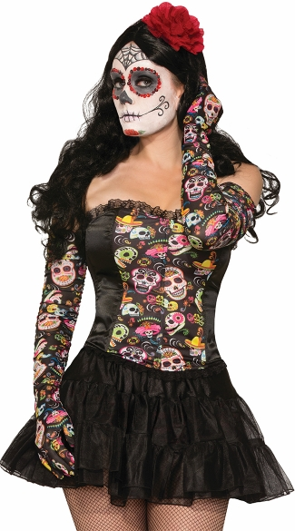 Day of the Dead Ruched Gloves, Sugar Skull Gloves, Day of the Dead Gloves