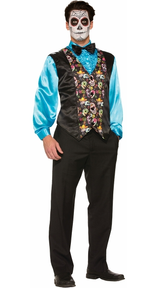 Day Of The Dead Vest, Men\'s Day of the Dead Halloween Costume, Men\'s Day of the Dead Clothing