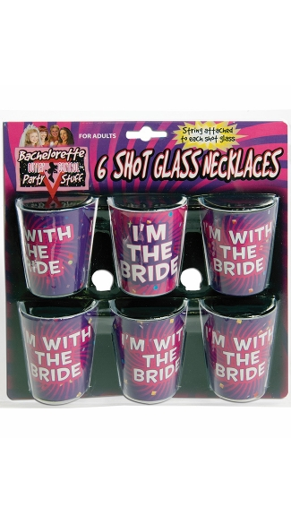Bachelorette Shot Glass Necklaces, 6 Pack of Shot Glasses, Bridal Party Shot Glasses