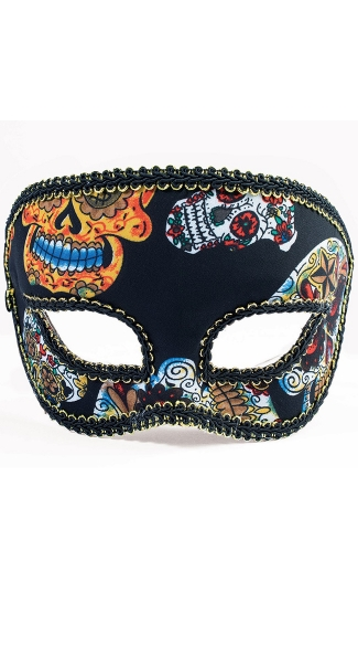 Men\'s Day of the Dead Skull Half Mask, Day of the Dead for Men, Day of the Dead Halloween Mask