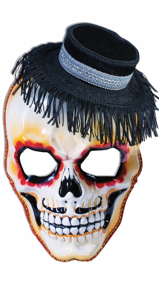Day of the Dead Sugar Skull Mask with Hat