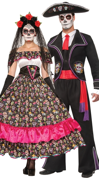 Dia De Los Muertos Couples Costume, Spanish Lady Day Of Dead Costume, Women\'s Day of the Dead Halloween Dress, Senorita Dress, Men\'s Day Of The Dead Costume, Mens Dia De Los Muertos Costume