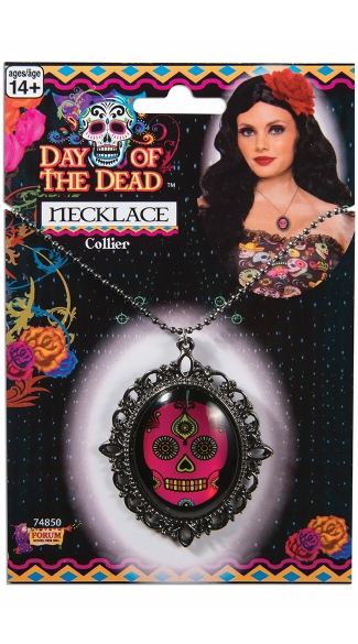 Sugar Skull Brooch Necklace, Day of the Dead Necklace, Dia De Los Muertos Necklace