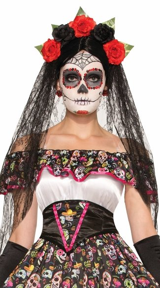 Day of the Dead Black Veil Headdress, Gothic Headdress, Day of the Dead Flower Headband