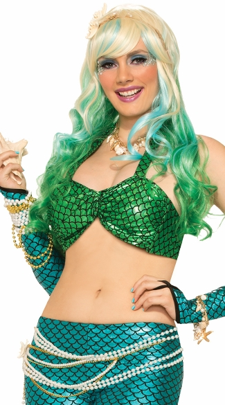 Green Mermaid Bikini Top, Mermaid Halloween Costume, Fish Scale Mermaid Bra