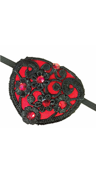 Steampunk Lace Eye Patch, Black and Red Eye Patch, Lace Eye Patch