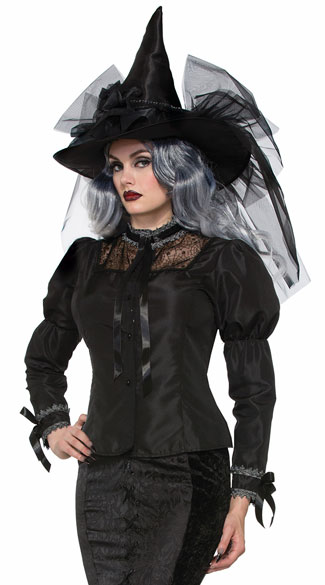 Bewitching Black Blouse, Witch Shirt, Witch Top