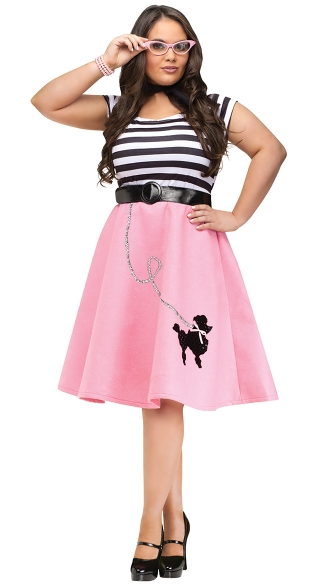 Plus Size Soda Shop Sweetie Costume, Plus Size Poodle Skirt, Plus Size 50\'s Costume