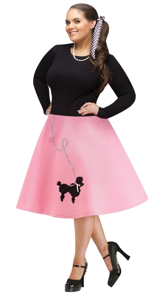 Plus Size Poodle Skirt Costume, Plus Size Poodle Skirt, Plus Size 50\'s Costume