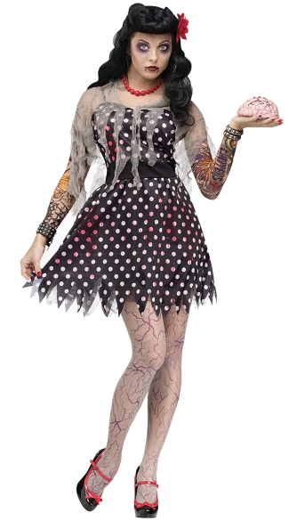 Rockabilly Zombie Adult Costume, Punk Zombie Costume, Cute Girl Zombie Costume