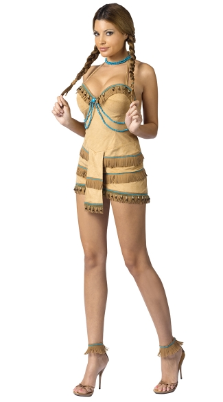 Dream Catcher Adult Costume, Suede Indian Costume, Native Sweetie Costume