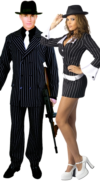 Perfect Pinstripe Couples Costume, Criminal Mischief Gangster Costume, Sexy Gangster Costume, Sexy Mob Costume, Men\'s Gangster Suit Costume, Goodfellas Costume, Men\'s Gangster Costume