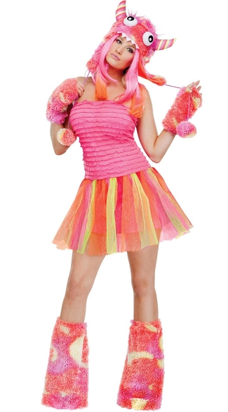 Wild Child Monster Costume, Pink and Orange Monster Costume, Pink Rave Monster Costume