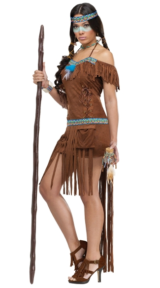 Medicine Woman Adult Costume, Fringe Indian Costume, Sexy Indian Halloween Costume