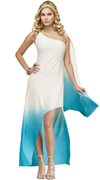 Heavenly Goddess Costume, Blue and White Goddess Costume, Ombre Goddess Gown Costume