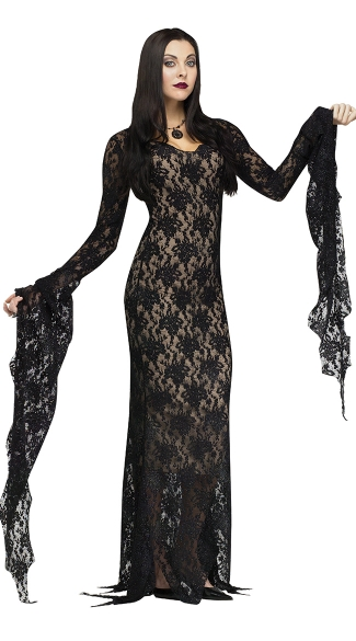Miss Darkness Adult Costume, Adams Family Morticia Costume, Morticia Halloween Costume