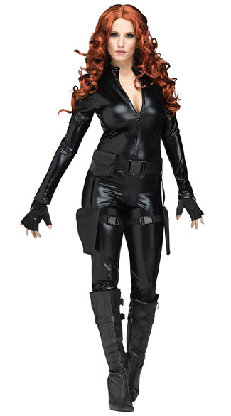 Enticing Midnight Ops Costume, Sexy Secret Agent Costume, Sexy Black Ops Costume